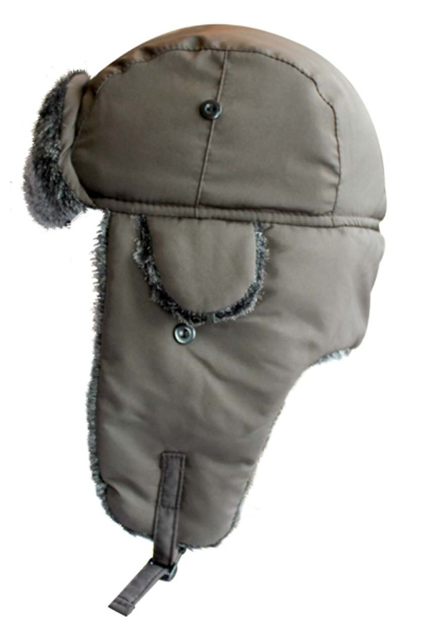 Central Chic Adult Waterproof Winter Trapper Hat With Faux Fur Trim One Size 59cm