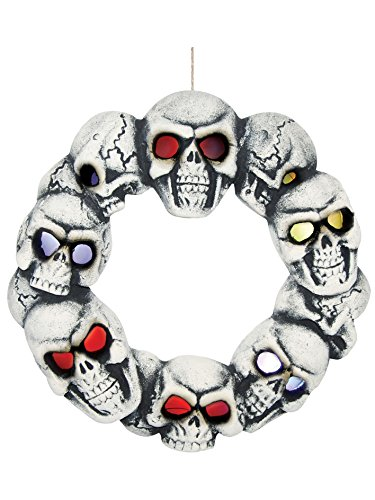 Halloween Skull Wreath with Multicolored Light Up Blinking LED Eyes, 15 Inch