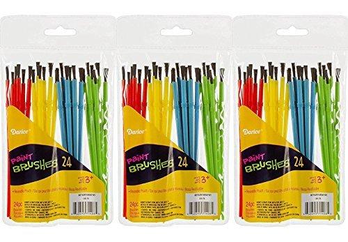 Darice 1181-79 24-Piece Kids' Paint Brush Assortment (3 (Wholesale Paint Brushes)
