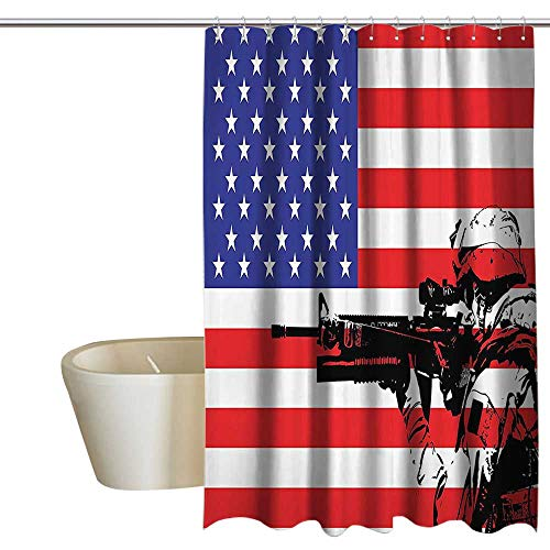 SKDSArts Shower Curtains Beach Blue American Decor Collection,American Flag Themed Monogram USA Military Soldier with M16 Rifle Sketchy Image,Blue Red White 69