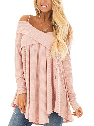 Womens Long Sleeve Off The Shoulder Criss Cross Knit Jumper Flowy Solid Tops Pink L