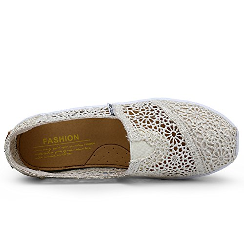 Mljsh Women's Mesh Slip-On Platform Toning Shoes Crochet Fitness Work Out height-Increasing Sneaker Beige hJIgOgUaO