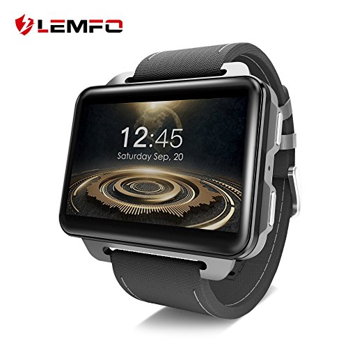 LEMFO LEM4 PRO Smart Watch Phone, 2.2 Inch Big Screen GPS/Heart Rate Monitor/Pedometer for Android iOS - Black