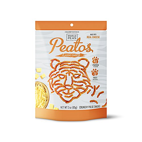 (World Peas, Peatos Classic Cheese Crunchies Healthy Snack Food - JUNK FOOD WITHOUT THE JUNK, Powerful Plant Protein, 130 cal, 3 Oz Bag (4 Count), Non-GMO, No Added MSG, Gluten-Free, Vegetarian)