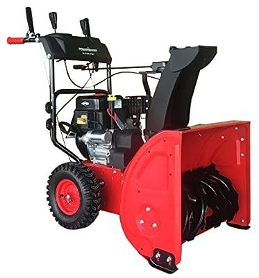 """PowerSmart DB7651BS-24 2-Stage Briggs & Stratton Gas Snow Blower, 24"""", Red, Black"""