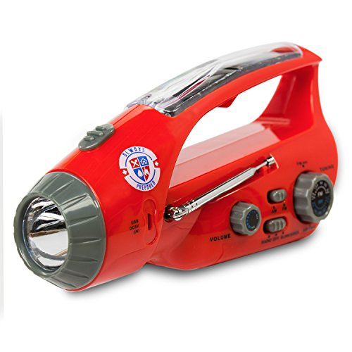 Emergency Flashlight & Radio (Accelerated Charging Capabilities via USB) Solar, Hand Crank Dynamo and Self Powered - Bright LED - Rechargeable - Unlimited 3-Year Warranty
