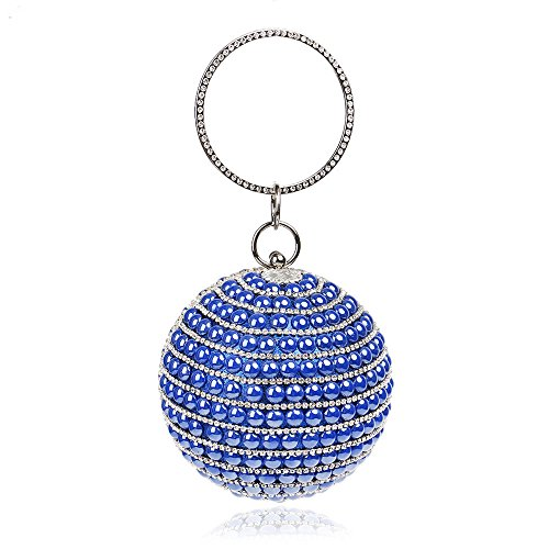 Party Shape Blue Bling Women's Bag Purse KELAND Clutch Rhinestones Handbag Beaded Wedding Evening Round vq1Ot