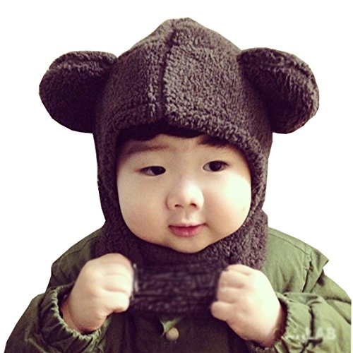 LuckyZ 2 in 1 Baby Kids Warm Winter Hats Thick Woolen Earflap Hood Fleece Hat Scarves with Ears, Fits for 8 Monthes to 4 Years Ages, Brown Bear