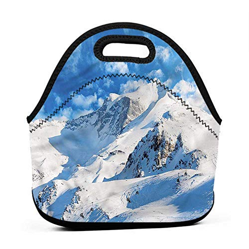 Travel Case Lunchbox with Zip Mountain,Snowy Mountain Ski,redskins lunch bag for men