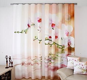 Gardinen Set 320x245cm Orchideen Modern 3d Effekt Schals Vorhang