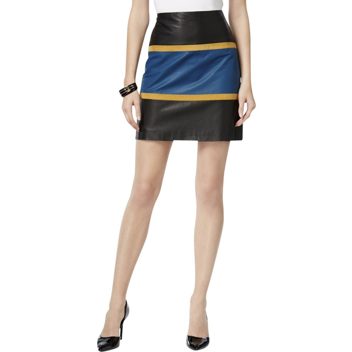 Anne Klein Women's Color Block Leather Skirt, Juniper Combo, 14