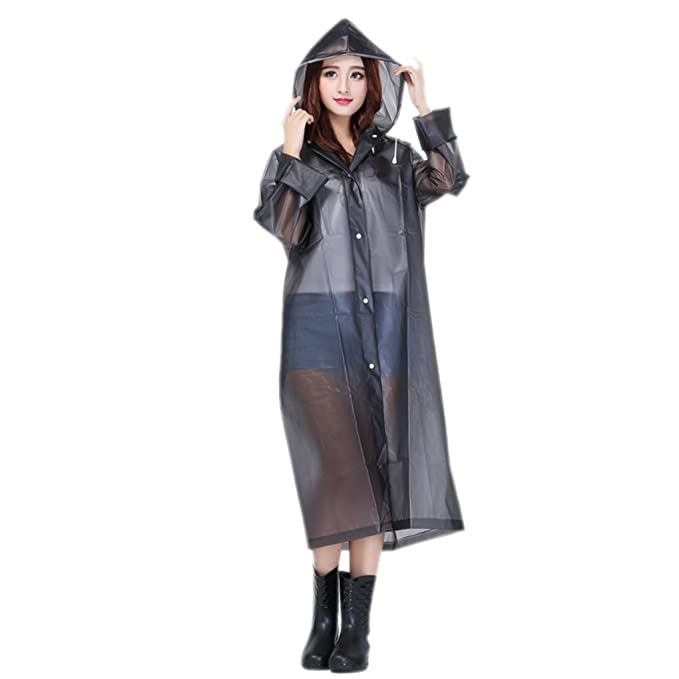 Women Packable Lightweight Transparent EVA Rain Jacket Poncho Raincoat with  Hood cda26f709759