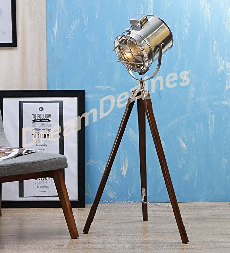 Classic theatre spot light with solid wooden tripod floor lamp classic theatre spot light with solid wooden tripod floor lamp vintageretro mozeypictures Image collections