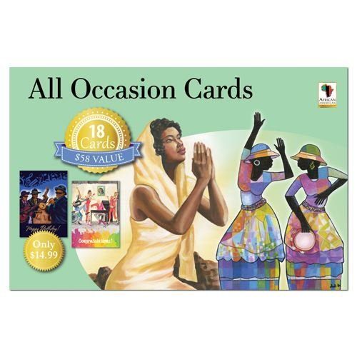 "Office Products : African American Expressions - All Occasion Boxed Cards Assortment #10 (Box of 18 cards, 5"" x 7"") AOAB-720"