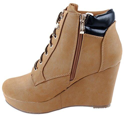 Scarpe Donna Bella Marie Jojo-10 Stivaletti Stringati Alla Caviglia Con Tacco Alto Zeppa