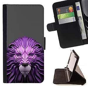 Momo Phone Case / Flip Funda de Cuero Case Cover - Madera Papel León Gray Animal Rey - Samsung Galaxy J1 J100