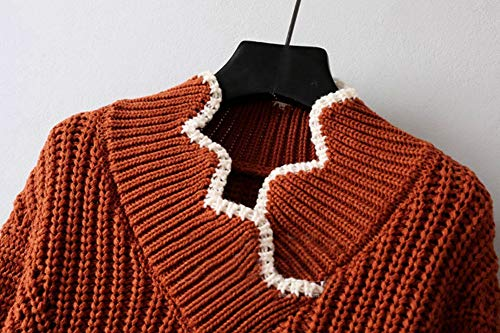 Short Casual Autumn Jumper Maglione Irregular Sueter Waves V Crop Pullover Mujer Donna Neck Knit Drhgksp vqCzBaxz