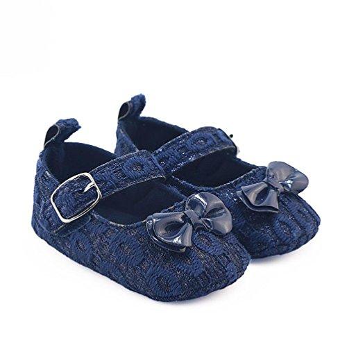 Igemy 1 Paar Neugeboren Säugling Baby Mädchen Bowknot Krippe Schuhe Soft Sole Anti-Rutsch Turnschuhe Blau