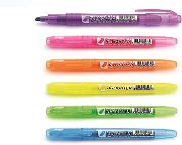 gr/ün Packung mit 6 St/ück gemischt pink blau und lila schmale Textmarker orange 8760WT6 Crown H-500 Textmarker mit heller fluoreszierender Tinte Keilspitze gelb