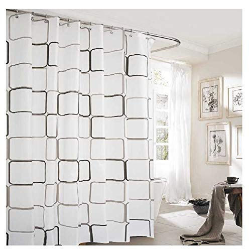 UooMay Shower Curtain Liner,Clear 3D Effect Design Waterproof Bath Curtain 72x72 I(Black White)