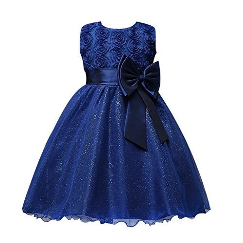 [FantastCostumes Girls Sleeveness Lace Tutu Princess Party Dress(Dark Blue, 12-24Months)] (Christmas Fancy Dress Baby)