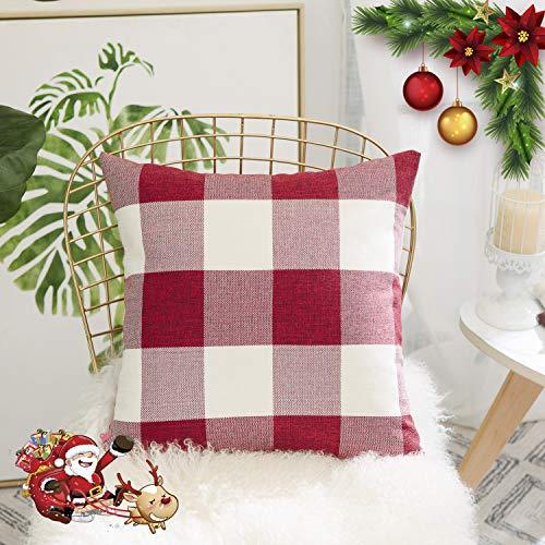 HOME BRILLIANT Red White Buffalo Checkers Plaids Linen European Euro Pillow Sham Farmhouse Square Throw Pillow Cover Love Cushion Case for Floor 26 x 26 Inch - Floor Pillow Euro Sham