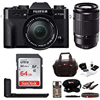 Fujifilm X-T20 Mirrorless Camera w/XC16-50 & XC50-230 Lens (Black) w/ Metal HandGrip ,Gadget Bag & 64GB Card