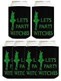 Funny Halloween Beer Coolie Let's Party Witches Sexy Witch Costume Accessory 6 Pack Can Coolie Drink Coolers Coolies Black