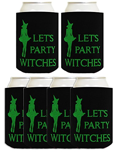 Costume Witch Kitchen (Funny Halloween Beer Coolie Let's Party Witches Sexy Witch Costume Accessory 6 Pack Can Coolie Drink Coolers Coolies)
