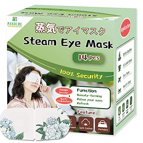 14 Pcs Steam Eye mask, Disposable Moist Heating Compress Pads for Sleeping, Design of Protecting the Eyes (Gardenia)