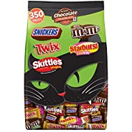 M&M'S, SNICKERS, TWIX, STARBURST & SKITTLES Halloween Candy Fun Size & Minis Size Variety Mix, 127.78 Ounce Bag, 350 Pieces
