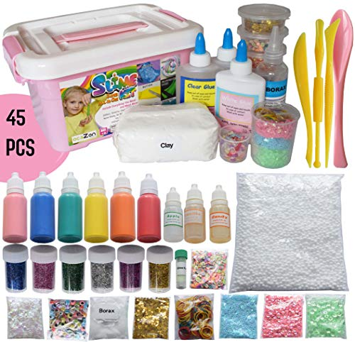 ecoZen Lifestyle Ultimate Slime Kit - Perfect Unicorn Slime Kit for Girls - Best Value DIY Slime Supplies Kits (45 Packs) for Making Tons of Various Fail-Proof Slimes That Occupy Kids for Hour