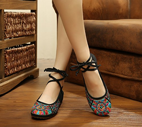 WXT Zapatos bordados, lenguado de tendón, estilo étnico, hembrashoes, moda, sandalias cómodas Black