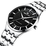 Mens Black Wrist Watches Men Waterproof Ultra Thin Silver Stainless Steel Watches Day Date Calendar Watch