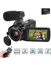 Video Camcorder, Kenuo Vlogging Kamera FHD 1080P 24MP 3''LCD-Touchscreen IR Nachtsicht Digitalkamera 16X-Digitalzoom Vlogging Kamera Recorder mit externem Mikrofon und Fernbedienung, 2 Batterien