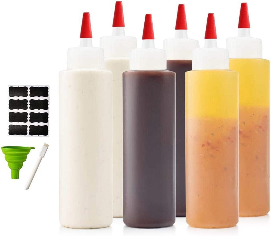 6-pack Premium Condiment Squeeze Bottles for Sauces, Paint,Oil, Condiments,Salad Dressings, Arts and Crafts - BPA Free- Food Grade-Includes Funnel, Erasable Marker and Reusable Labels (8 oz)