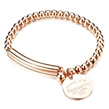 """COCO Park New Fashion Women Jewelry Stainless Steel Bead Round Ball Chain Cuff Bracelet Craved """"Eternal Love"""" Charm Pendant Lady Bangle Wristband 6 2/8 Inch"""