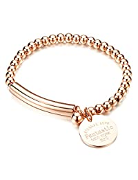 "COCO Park New Fashion Women Jewelry Stainless Steel Bead Round Ball Chain Cuff Bracelet Craved ""Eternal Love"" Charm Pendant Lady Bangle Wristband 6 2/8 Inch"