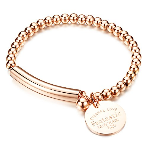 Rose Gold Stainless Steel Bracelet - COCO Park Stainless Steel Rose Gold Bead Ball Chain Cuff Bangle Charm Pendant Lady Bracelet 6 2/8 Inch