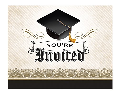 Creative Converting 892216 8 Count Cap and Gown Graduation Invitation Cards, (Invitations Graduation)