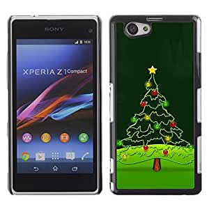 YOYO Slim PC / Aluminium Case Cover Armor Shell Portection //Christmas Holiday Tree 1233 //Sony Xperia Z1 Compact