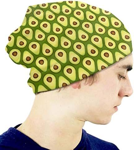Boys' Novelty Hat Eat The Avocado Beanie Girl Warm Skull Knit Hat Unisex Slouchy Soft Kid Cap Black