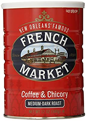 FRENCH MARKET Coffee and Chicory, Medium-Dark Roast, 12 Ounce