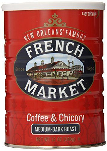 French Market Coffee, Coffee & Chicory, Medium-Dark Roast Ground Coffee, 12 Ounce Metal Can - New Orleans French Coffee