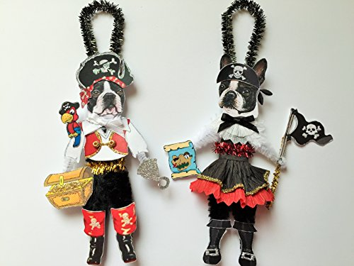 - Boston Terrier PIRATE & Wench HALLOWEEN ORNAMENTS Vintage Style Dog Chenille Ornaments Set of 2