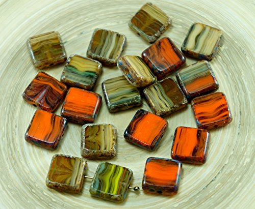 8pcs Picasso Brown Orange Striped Rustic Window Table Cut Flat Square Czech Glass Beads 10mm x 10mm