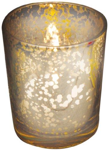 Biedermann & Sons Glass Votive Candleholder, Set of 12, Rustic Silver