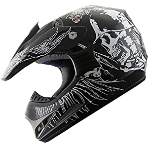 ATV Motocross Dirt Bike Motorcycle Helmet 190 Black Skull S from X4