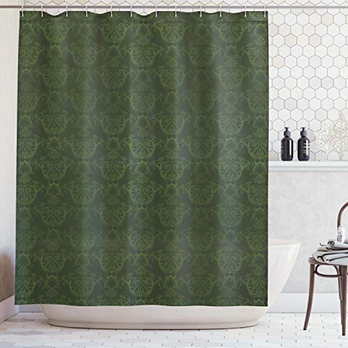 Lunarable Hunter Green Shower Curtain, Victorian Damask Rococo Renaissance Swirled Classic Floral Petals Pattern, Cloth Fabric Bathroom Decor Set with Hooks, 70 Inches, Hunter Green