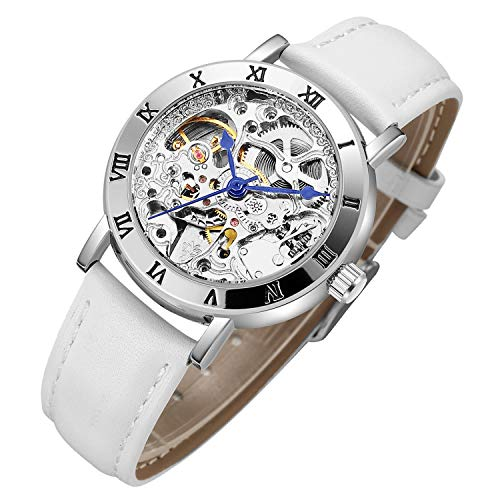 IK Women's Steampunk Automatic Mechanical Watch, Genuine Leather Watch Band Strap Self Winding Lady Dress Wrist Bracelet Watch - White